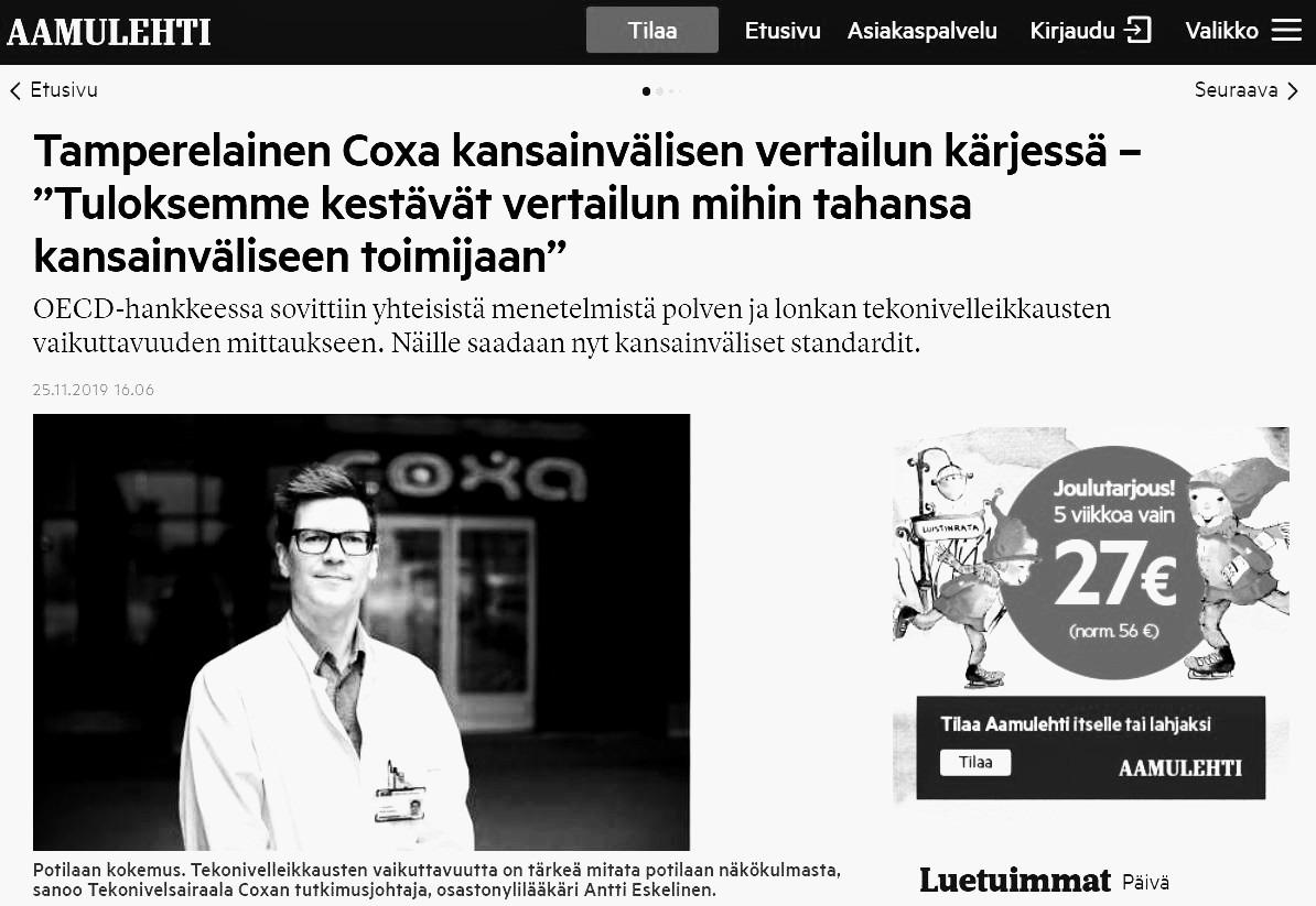 Suomalaissairaala Coxa kansainvälistä kärkeä – NPS-luku 95